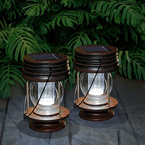 pearlstar Solar Lantern - Hanging Solar Lights Outdoor - 2 Pack Solar Powered Waterproof Led Lanterns Vintage Design for Landscape,Yard,Garden,Pathway,Beach,Pavilion Decoration (White Lights)