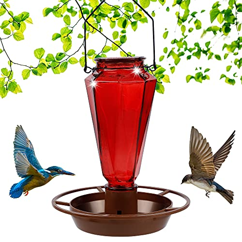 Juegoal Glass Wild Bird Waterer, 22 oz Wild Bird Feeder for Outdoors, Diamond Shaped Water Cooler with Metal Handle Hanging for Garden Tree Yard Outside Decoration, Red