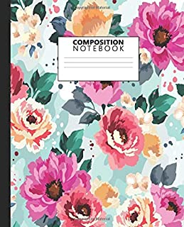 Composition Notebook: Cute Wide Ruled Paper Notebook Journal | Wide Blank Lined Workbook for Teens Kids Students Girls for Home School College for ... | NIfty Floral Pink & Yellow Rose Pattern