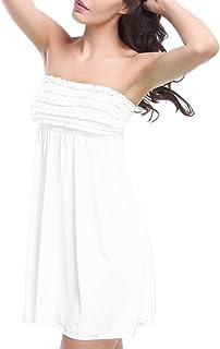 cd273b4032e GUOCU Été Femme sans Bretelles Bohême Couleur Unie Robe de Dessus de Tube  Loisirs Plage Vacances