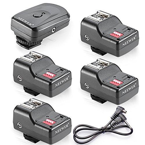 Neewer 4 Channel Wireless Remote FM Flash Speedlite Radio Trigger with 2.5mm PC Receiver for Canon 580EX II 580EX 550EX 540EZ 520EZ 430EX, Nikon SB900 SB800 SB600 SB28, Neewer TT860, TT850, TT560, YN560 III, YN560 II, YN560 I, Olympus, Pentax,Sigma, Sunpak, Vivitar 285HV and Other Flash Units with Universal Hot Shoe (1 Trigger&4 Receivers Set)