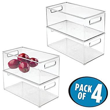 mDesign Refrigerator and Freezer Storage Organizer Bins for Kitchen - Pack of 4, 8  x 6  x 14.5 , Clear