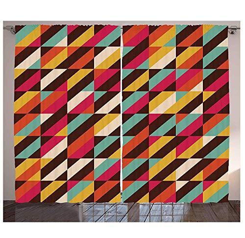 MUXIAND abstracte gordijnen Funky geometrische vierkante boxen met parallelle kleurenbalken driehoek strepen retro woonkamer slaapkamer raam