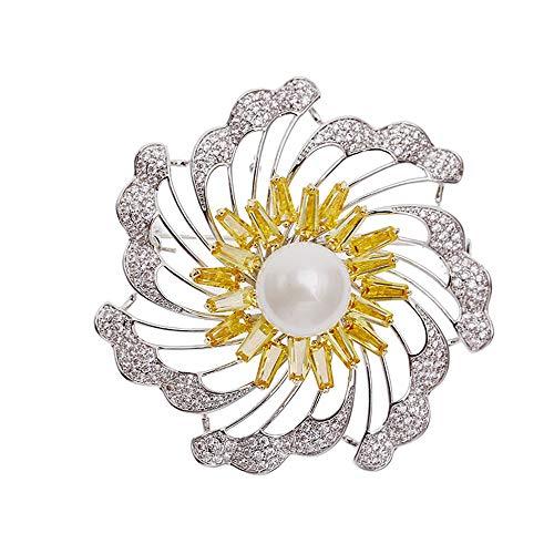 KEKE Frauen Persönlichkeit drehbare Brosche Perle Blume Brosche für Hochzeit