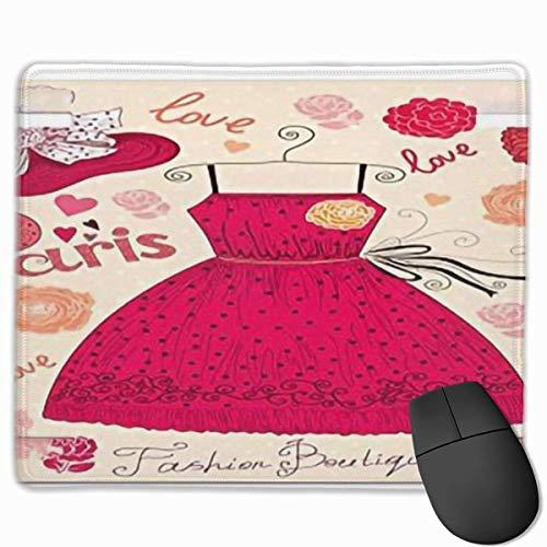 Muismat, bureau muismat, mode vintage mode olimants met jurk kledingstuk outfit hoed bloemen pastel grafiecream roze rood