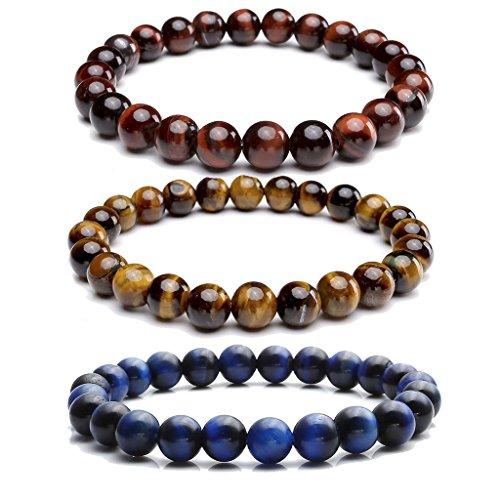Jovivi Set of 3 8MM Natural Semi Precious Gemstone Healing Power Round Bead Elastic Stretch Bracelet Variation Colors and Material