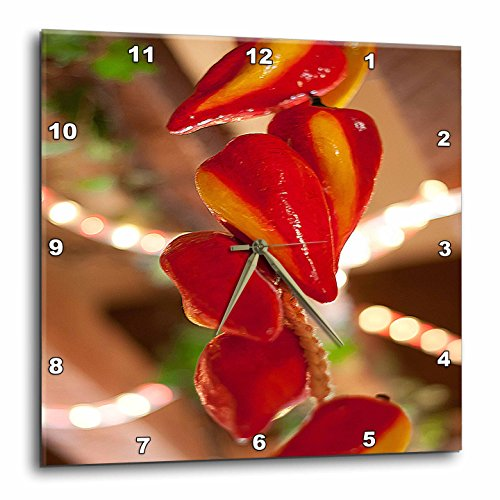 3dRose DPP_52089_1 Ceramic Red Hot Chili Peppers Strung on String and Hanging on from a Ceiling Wall Clock, 10 by 10-Inch
