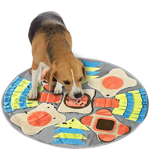 Schnüffelmatte für Hunde und Welpen, Trainingspad für Leckerlis, Puzzle, fördert natürliche Futtersuche, perfekt für jede Rasse (runder Durchmesser: 75 cm)