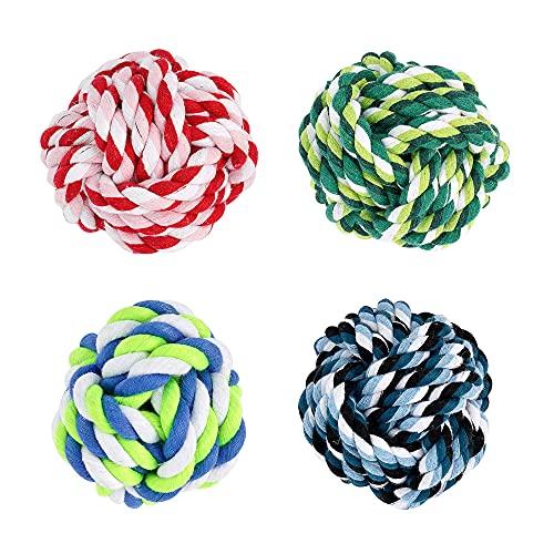Juguetes de Cuerda para Cachorro Pelota Nudos 120G Bolas Trenzadas de algodón para Limpiar los Dientes de los Perros (12CM-2PC)