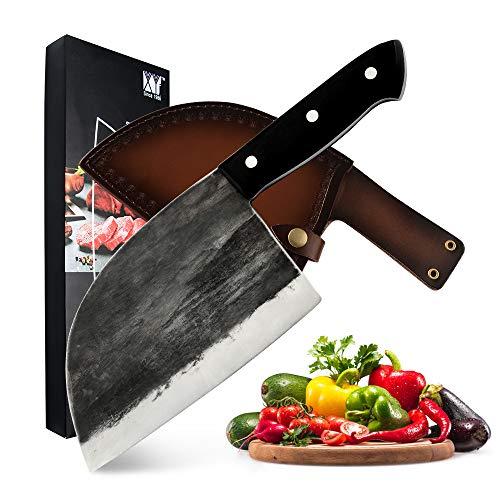 Cuchillo de carnicero completo Cuchillo de carnicero forjado hecho a mano Cuchillo de cocinero de acero revestido de alto carbono Cuchillo de carnicero con funda de cuero