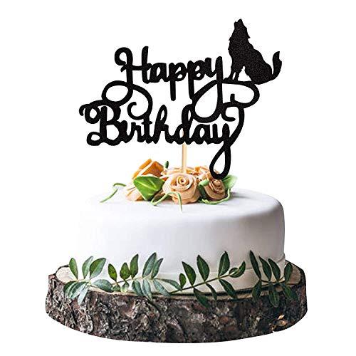 Svnaokr Decoración para cupcakes con forma de lobo con purpurina, diseño de cupcake, palillo de dientes, diseño de animales, tema de cumpleaños, boda, decoración (1 x decoración para tarta de lobo)