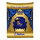 Little Prince Royal Blue Gold Personalized Baby Blanket Super Soft for Boy & Girl,Custom Fleece Blanket with Your Baby Name Birthday Shower Wedding Gifts (30x40 Inches)