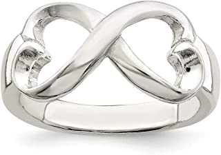925 Sterling Silver Polished Heart Infinity Ring