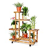 unho Wooden Plant Stand with Wheels Multi-Layer Rolling Plant Flower Display Shelf Indoor Movable Storage Rack Holder Outdoor for Patio Livingroom Balcony Garden Yard