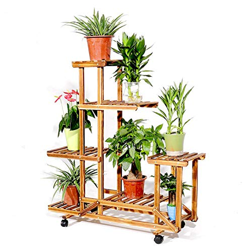 unho Wooden Plant Stand with Wheels Multi-Layer Rolling Plant Flower Display Shelf Indoor Movable...