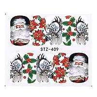 1シートクリスマスネイルアートウォーターステッカー漫画ヘラジカ雪だるまフルカバースライダーヒント用ポーランドジェルネイルデコレーションSASTZ405-438 STZ409