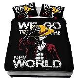 KIACIYA Funda Nórdica One Piece, One Piece Juego de Funda de Edredón Chicas y Chicos Luffy 3D Impresión 3 Piezas Funda Nórdica Juegos de Fundas para Edredón y Funda de Almohada (AIW-93,140x210cm)