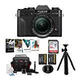 Fujifilm X-T30 Mirrorless Camera (Black) w/18-55mm Lens Accessory Bundle+ Sandisk 64GB Ultra UHS-I + 2 NP-W126 & Dual Charger + Tripod + Deluxe Photo Software