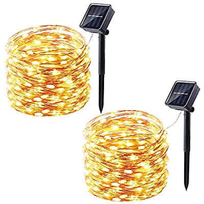 Solar String Lights Outdoor, BrizLabs 100 LED Solar Powered Fairy Lights 2 Pack 33ft 8 Modes Copper Wire Lights Waterproof Indoor Lighting for Garden Patio Yard Tree Party Wedding Bedroom, Warm White
