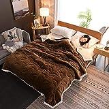 ZKbed Doppel-Decke für den Winter, warm, Fleece, Doppelbett, 150 x 200 cm, Kaffeebraun