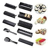 10 Piezas Set de Herramientas de Sushi, Kit para Hacer Sushi, con 8 Formas de Molde de Rollo de Arroz de Sushi ,Fácil y Divertido,para Hacer en Casa para Sushi DIY También Como Regalo