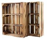 Juego de 2 cajas de estantería planas con 3 compartimentos, estilo rústico, 50 x 40,5 x 16 cm