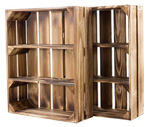 2er Set Regalkiste flach mit 3 Fächern flambiert - neue Holzkiste als Wandregal Küchenregal Badregal Gewürzregal Regal Kistenregal Obstkistenregal - rustikale Obstkiste 50x40,5x16cm