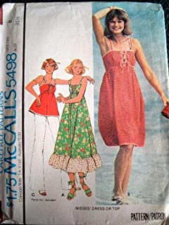 McCall's Vintage 1977 Pattern 5498 Misses Dress or Top with Variations Size 8 Easy to Sew