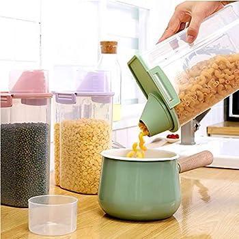 PISSION Boîte de Conservation avec dégradé Tasse et Boucles de Joint d'étanchéité pour céréales de Riz de Cuisine pour Animal Domestique Chat Distributeur de Nourriture