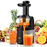 Juice Extractor, Joerid Slow Juicer Cold Press Quiet, Compact and Powerful Motor, Higher Juice Yield with Reverse Function, Juice Cup / Cleaning Brush Included