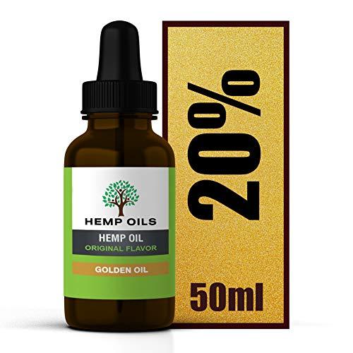 Aceite de cáñamo UK Company – Botella grande de 50 ml – 20% (dorado) de cáñamo – 5 meses de suministro.