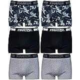STARTER Core Herren Boxershorts Schwarz Grau Camouflage (6er Pack) 95prozent Baumwolle (Ohne Kratzendes Etikett), Black, Grey Mel., Camouflage, S