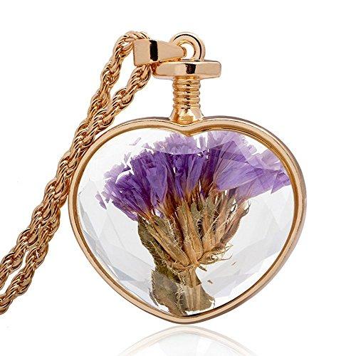 Winter 's Secret Gold Farbe Herz Form Glas Anhänger Halskette Lavendel Getrocknete Blumen