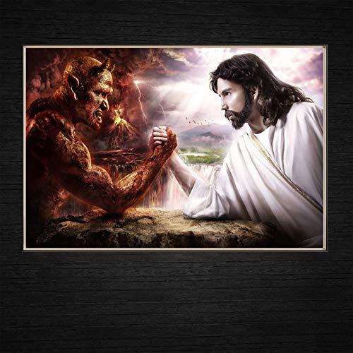 N / A Jesús VS Satanás Competición entre ángeles y demonios Arte moderno de pared Decoración para el hogar Pinturas en lienzo pintura al óleo para cocina religiosa 50 x 70 cm, sin marco