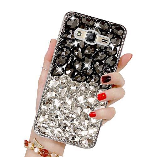 Misstars Luxe Diamant Coque pour Galaxy J3 2016, Transparente Bling Glitter Housse de Protection Souple TPU et Hard PC Arrière Antichoc Anti-Rayures pour Samsung Galaxy J3 2015 / J3 2016, Noir+Argent