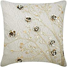 Handmade Ivory Cushion CoverHome Decor 40x40 cm, Silk Cushion Covers, French Toile, Floral, Lace, Mother of Pearl, Contem...