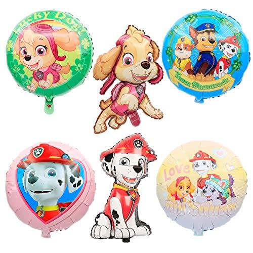 SUNSK Globos Cumpleaños Foil Globo Helio Redondo Globo Decoración para Paw Dog Patrol Fiesta de Cumpleaños 6 Piezas