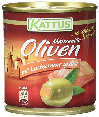 Kattus Spanische grüne Oliven, mit Lachscreme gefüllt, 8er Pack (8 x 200g)