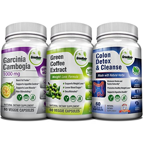 Weight Loss Trio - Green Coffee Bean w/ 50% Chlorogenic Acid + Garcinia Cambogia Extract & Colon Detox | 14 Day Diet Plan & Cleanser - Appetite Suppressant, Sugar & Fat Burner, Carb Blocker -180 Pills