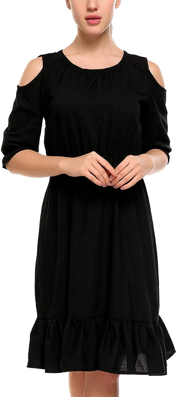 AL'OFA Women's Cold Shoulder Tunic Tops Ruffle Short Sleeves Summer Swing Dress Shirt