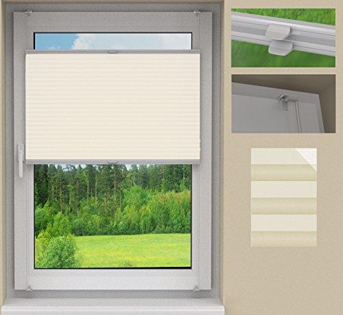 SUNLUX24 Plissee Cosimo auf Maß / Stoff:Beige Perlex(PLB074) / Systemfarbe: Weiß /Montage: Auf dem Rahmen mittels Klemmträger (ohne Bohren) / Breite 80,1 bis 90cm x Höhe 50,1 bis 60cm