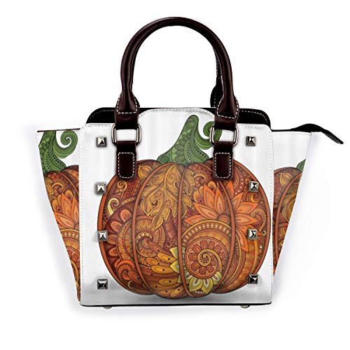 BROWCIN Gemüse Thanksgiving Day Symbol National Kürbisblume Paisley Mandala Form Abnehmbare mode trend damen handtasche umhängetasche umhängetasche
