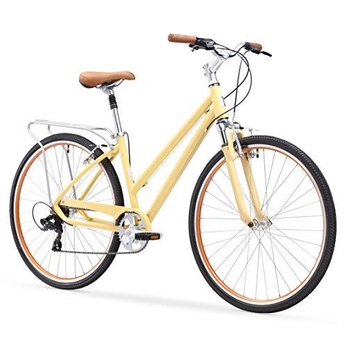 sixthreezero Pave N' Trail Women's 7-Speed Hybrid Bike, 26' Wheels/ 17' Frame, Cream, 17'/One Size
