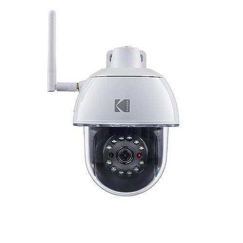 KODAK Caméra de surveillance EP101WG FULL HD rotative avec alarme intégrée pour ajouter jusqu'à 6 accessoires de sécurité, détection de mouvement et vision nocturne. Compatible avec l'alarme KODAK.