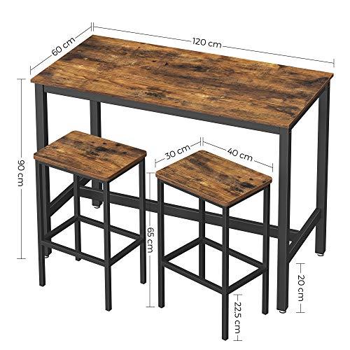 VASAGLE Bartisch-Set, Stehtisch mit 2 Barhockern, Küchentresen mit Barstühlen, Küchentisch und Küchenstühle im Industrie-Design, für Küche, 120 x 60 x 90 cm, vintagebraun-schwarz LBT15X - 6