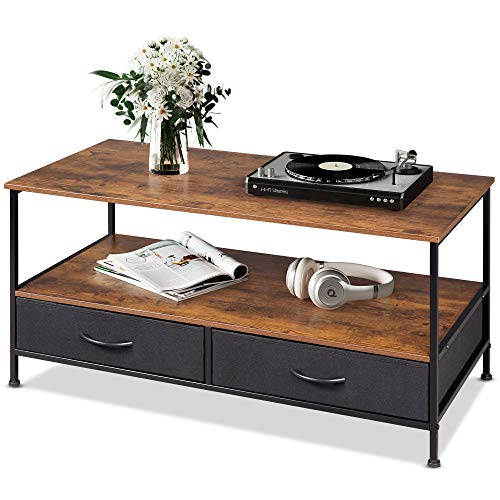 WLIVE Coffee Table, Wood and Metal Cocktail Table with Storage Shelf and 2 Fabric Drawers for Living Room