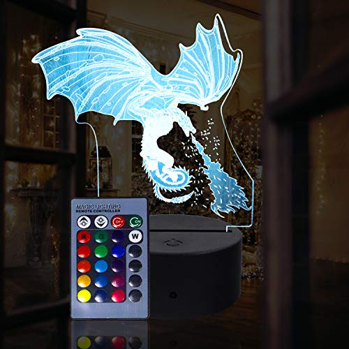 molezu 3D Ice Dragon Night Light for Kids 3D Illusion Lamp Multicolor with Remote Control for Living Bed Room Bar Gift Toys
