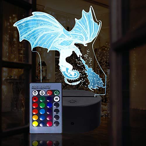 3D Ice Dragon Nachtlicht für Kinder 3D Illusion Lamp Multicolor mit Fernbedienung für Wohnzimmer Schlafzimmer Bar Geschenk Spielzeug