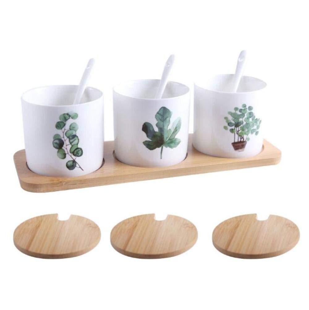 DD/LZY 3 Unids Ceramic Seasoning Jar Set Hogar Creativo Verde Plantación Caja De Especias Suministros De Cocina Cubierta De Bambú Natural Y Bandeja 28 * 9.5 Cm@Una: Amazon.es: Hogar