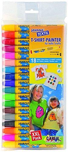 Kreul 90721 - Javana Texi Mäx Sunny Stoffmalstifte für helle Stoffe, waschecht nach Fixierung, mit unempfindlicher Rundspitze ca. 2 - 4 mm, 18 Stifte in verschiedenen Farben